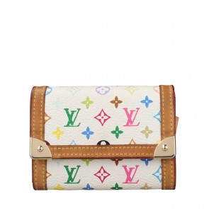 Louis Vuitton White Multicolor Trifold Wallet