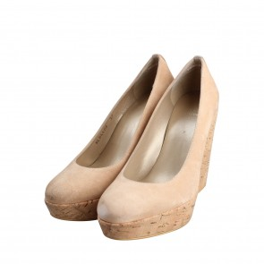 Stuart Weitzman Corkswoon Suede Bisque wedges