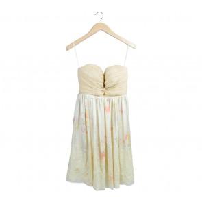 Yellow Floral Tube Mini Dress