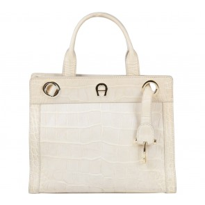 Aigner Cream Crocodile Handbag