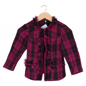 Pink And Black Plaid Outerwear
