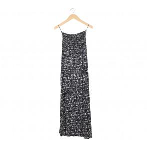 Divided Black And White Tube Slit Long Dress