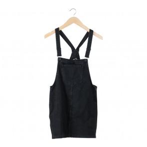 Bershka Black Denim Jumpsuit Mini Dress
