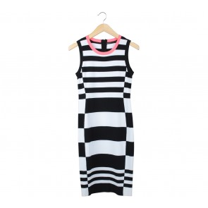 Karen Millen Black And White Striped Midi Dress