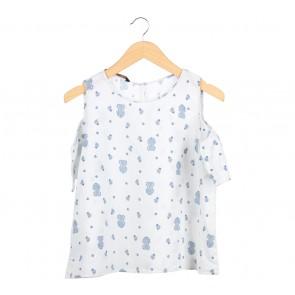 Zara Off White And Blue Floral Off Shoulder Blouse