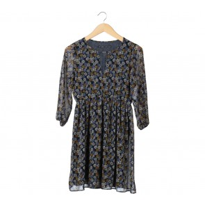 Zara Dark Blue Floral Mini Dress
