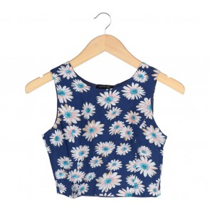 Cloth Inc Blue Floral Cropped Sleeveless