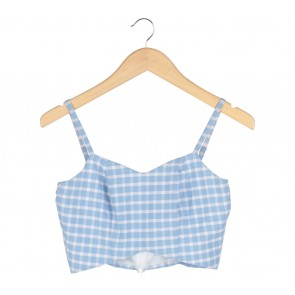 Cloth Inc Blue And White Plaid Cropped Sleeveless