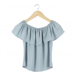 Cloth Inc Blue Bardot Blouse