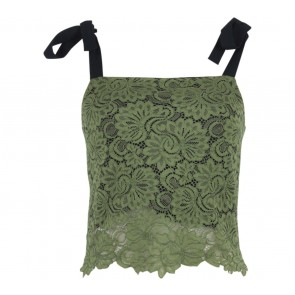 Cloth Inc Green Lace Cropped Sleeveless