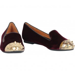 Staccato Purple And Gold Studded Flats