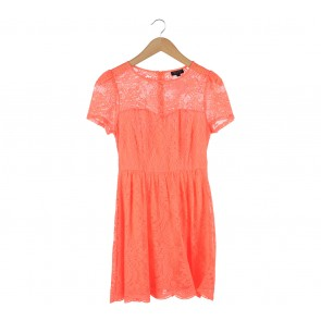 Topshop Orange Lace Mini Dress