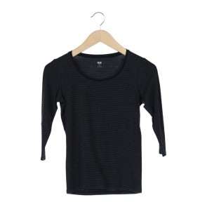 UNIQLO Black And Grey Striped T-Shirt