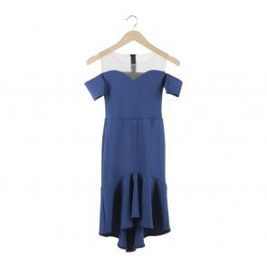 Blue Off Shoulder Midi Dress
