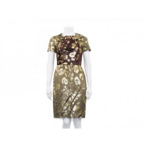 Oscar de la Renta Gold Midi Dress