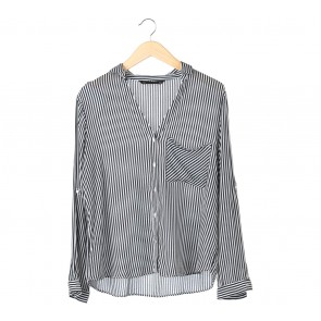Zara Black And White Striped Shirt
