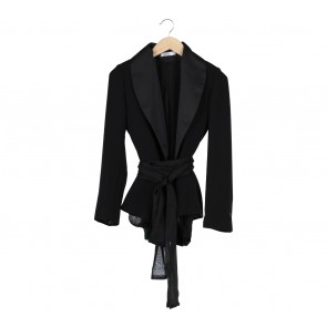 Laison Black Ribbon Slit Blazer
