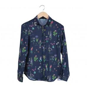 Zara Blue Floral  Polyester Shirt