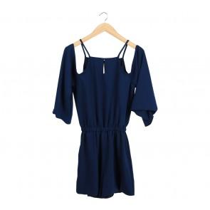 Love + Flair Dark Blue Off Shoulder Jumpsuit
