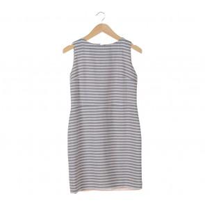 Shop At Velvet Grey And White Stripes Sleeveless Mini Dress