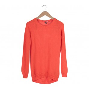Divided Orange Cable Knitted Sweater