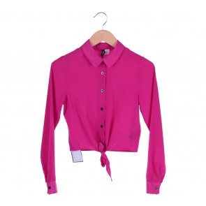 Divided Pink Cropped Bow Shirt