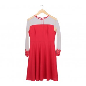SA Yours Red Embroidery  Midi Dress