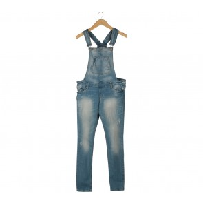 Stradivarius Light Blue Denim Ripped Jumpsuit