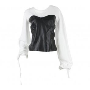 Zara Black And White Combi Leather Blouse