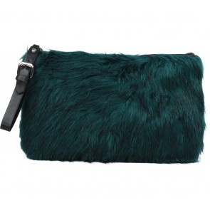 Zara Dark Green Furry Clutch