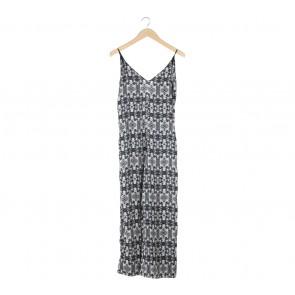 Zara Black And White Animal Print Jumpsuit