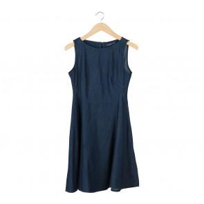 Zara Dark Blue Denim Midi Dress