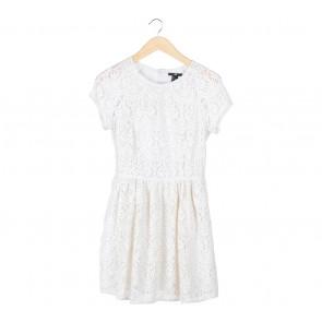 H&M Off White Lace Midi Dress