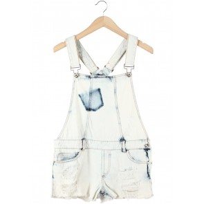 Zara Off White Washed Ripped Jumpsuit