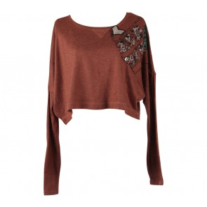 Topshop Brown Cropped Sweater