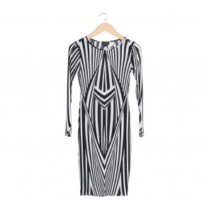 Topshop Black And Off White Striped Midi Dress