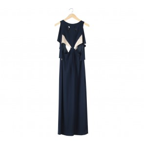 Amanda Rahardjo Dark Blue And Cream Backless Cut Out Slit  Long Dress