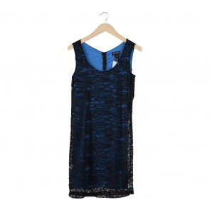 Enfocus Studio Black And Blue Lace Mini Dress