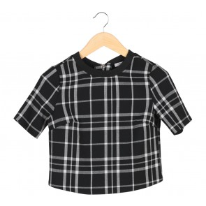 Bershka Black Plaid T-Shirt