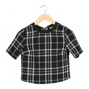 Bershka Black Plaid T-Shirt