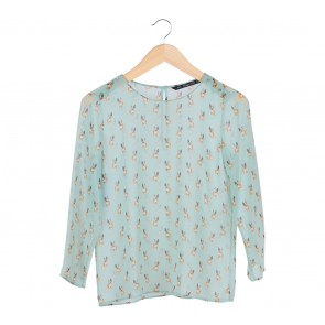 Zara Green Dog Pattern Blouse