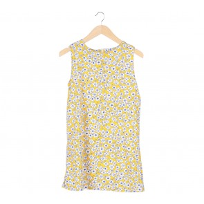 Yellow Floral Sleeveless Mini Dress