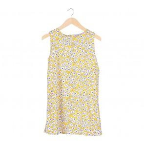 Yellow Floral Sleeveless Mini Dress