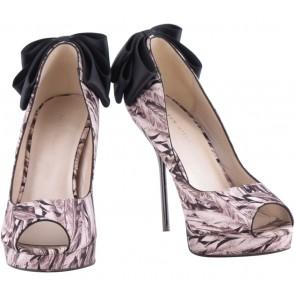 Karen Millen Brown And Black Peep Toe Platform Heels
