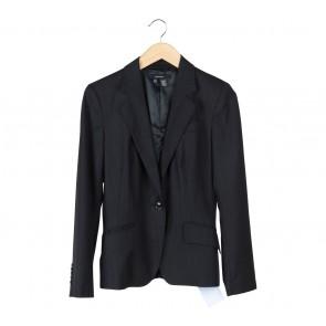 Zara Black And Blue Striped Blazer
