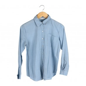 Cotton Ink Blue Polka Dot Shirt