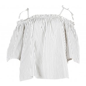 H&M Off White And Grey Striped Off Shoulder  Blouse