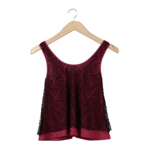 Lucca Couture Pink And Black Lace Sleeveless