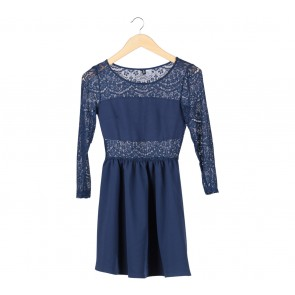 Divided Dark Blue Lace Mini Dress