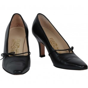Salvatore Ferragamo Black Ribbon Heels